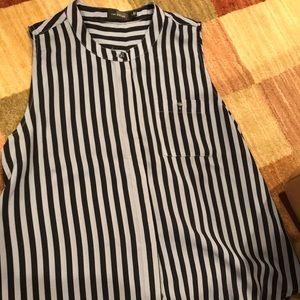 Navy and light blue stripped blouse
